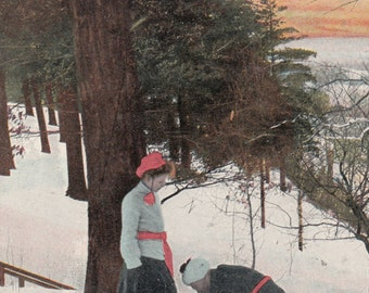 """1911 Antique Postcard,""""Getting Ready For A Tramp"""" Montreal Getting Snowshoes On W Help, Lovely Color"""