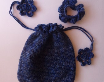 """Drawstring Pouch with Matching Hair scrunchie - Small - Color """"Midnight Sky"""""""