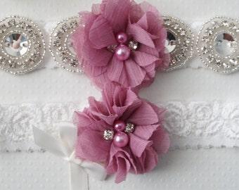 Wedding Garter Set, Bridal Garter, Mauve Wedding Garter, Keepsake Garter, Toss Garter, Off White Lace Garter - Style L233