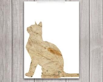 75% OFF SALE - Cat Wall Art - 5x7 Cat Wall Decor, Cat Artwork, Cat Sitting, Shabby Chic, Rustic Decor, Cat Print, Cat Printable, Kitty
