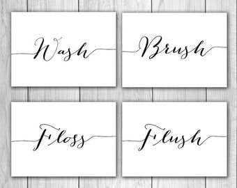 75% OFF SALE Bathroom Decor - 5x7 (Set of 4) Wash, Brush, Floss, Flush, Bathroom Wall Art, Bathroom Prints, Bathroom Rules, Printable Art
