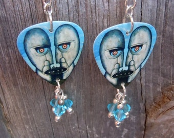 Pink Floyd Division Bell Guitar Pick Earrings with Crystal Dangles