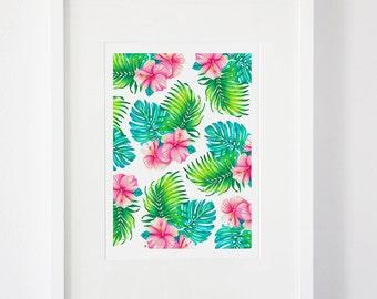 SALE || Tropical Watercolour Pattern Print