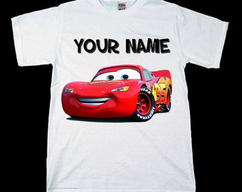 Disney Pixar Cars Lightning McQueen Personalised Kids Tee T-Shirt T Shirt