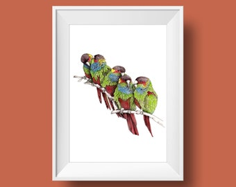 Five little birds Parrot painting Birds art print in Bright colors
