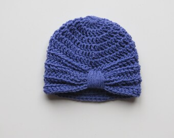 Handmade Crochet Baby Turban Style Hat in Violet Made to order, Many Colours Available, great photo prop! Baby Gift, Baby Showers
