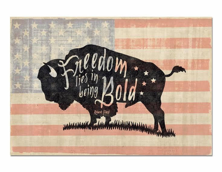 Freedom Lies In Being Bold Buffalo Silhouette Poster Quote