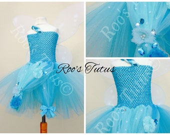 Silvermist Fairy, (Tinkerbell) inspired tutu dress costume (Handmade). dress up