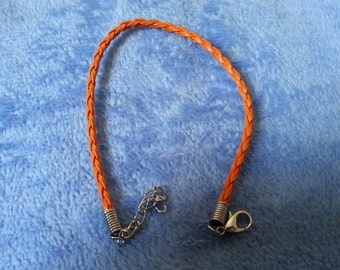 CLEARANCE: Orange leather braided bracelet by SerenitybyGJ