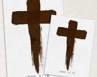 Painted Cross John 3:16 -  4x6 & 3x4 printable