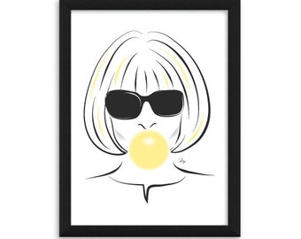 Anna Wintour bubble gum Fashion Illustration Art Print