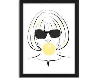 Anna Wintour bubble gum Fashion Illustration Art Print