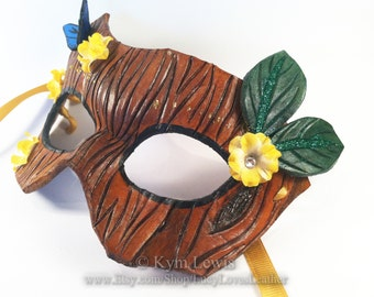 Masquerade Mask, Tree Bark, Blue Butterfly, Yellow Flowers, Prom Mask, Masked Ball, Leather Mask, Druid Costume, LARP mask
