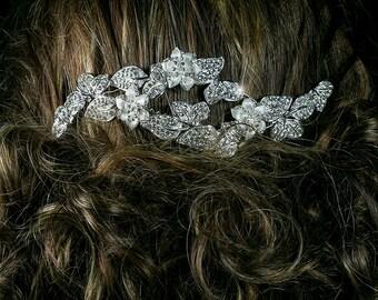 Swarovski Crystal Vintage Floral Art Deco Cluster Hair Comb, Bridal Wedding Hair Comb Floral Art Deco  Bridesmaid Hair Comb-BSLIHCAR120347