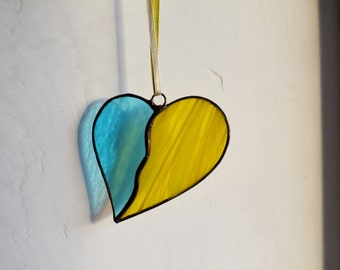 Stained Glass Heart Suncatcher blue yellow, Wall decor, Window decor, Home decor, art, hanging, decoration, ornament, Valentines day gift