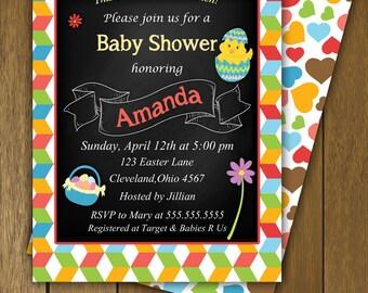 Chalkboard Easter Baby Shower Invitation, A Little Chick Chalkboard Baby Shower, Easter Egg Baby Shower Invitation, PRINTABLE INVITATION