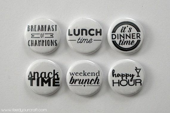 B & W repas temps Flair Mini Badges