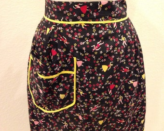 Mid Century Dutch apron, black with yellow detailing