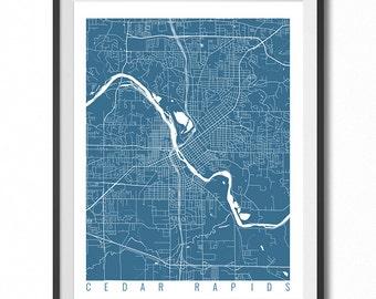 CEDAR RAPIDS Map Art Print / Iowa Poster / Cedar Rapids Wall Art Decor / Choose Size and Color