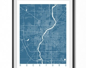ROCKFORD Map Art Print / Illinois Poster / Rockford Wall Art Decor / Choose Size and Color