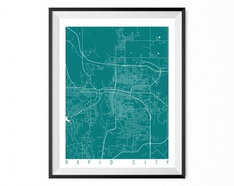 RAPID CITY Map Art Print / South Dakota Poster / Rapid City Wall Art Decor / Choose Size and Color