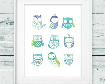 "Owl nursery art, Instant Download, 8x10"", Owl wall art, Woodland nursery art, Forrest nursery art, Woodland owl nursery, boy nursery art"