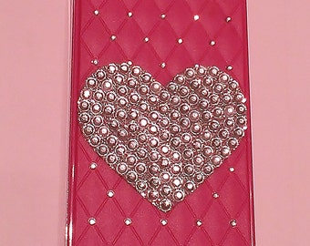 BLING Custom Rhinestone Magenta iPhone 4 or 4S cell Phone Case With Clear Rhinestone Heart
