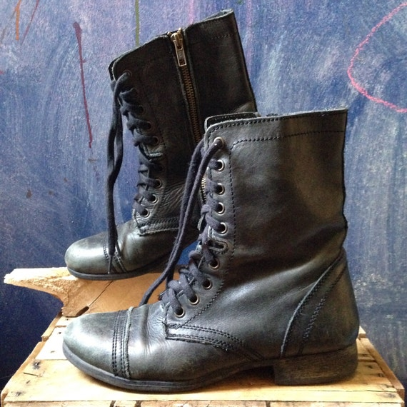 New Ladies Retro Combat Leather Boots Womens Lace Up Vintage Goth Martin Ankle Boot | EBay