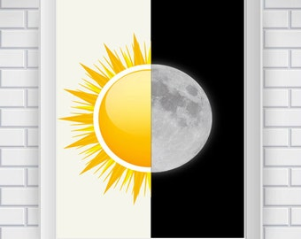 Sun And Moon Art Printable, Sun and Moon Modern Art Printable, Sun Art, Moon Art, Modern Art, Modern Wall Decor, Instant Download Art