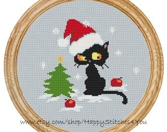 Cross Stitch Pattern PDF christmas cat DD0129