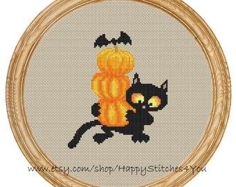 Cross Stitch Pattern PDF halloween cat with pumpkins DD0117