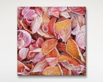 Dogwood Print Canvas Art, Nature Photography, Home Wall Decor, Red Leaves Print