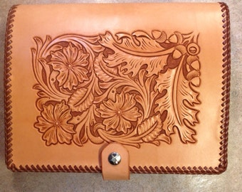 Hand Tooled Leather Planner Binder