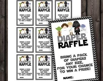 Starwars Baby Shower Diaper Raffle Tickets, Star Wars Baby Shower, Diaper  Raffle Baby Shower