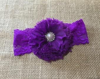 Lace Stretch Headband, Purple Lace Headband, Purple Headband, Newborn Headband, Girls Headband, Big Flower Headband, Headband for Babies