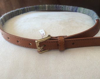 leather belt with hand spun, hand dyed wool