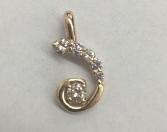 14k yellow gold handmade diamond freeform pendant