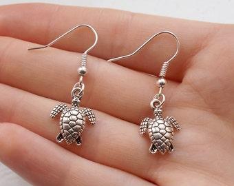 turtle earrings silver earrings handmade earrings animal jewellery fashion earrings silver jewellery drop earrings turtle jewellery gift her