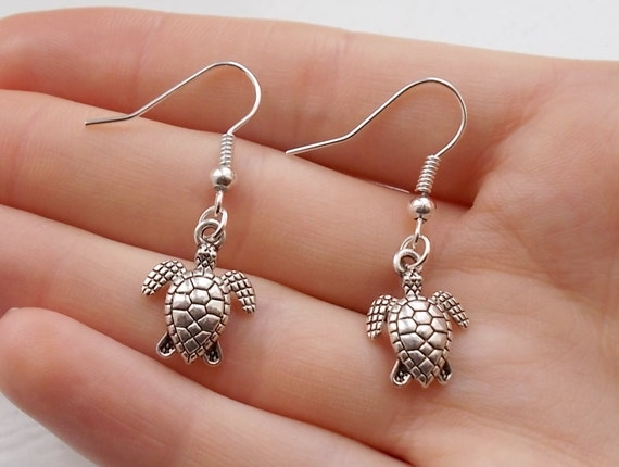 turtle earrings silver earrings handmade earrings animal