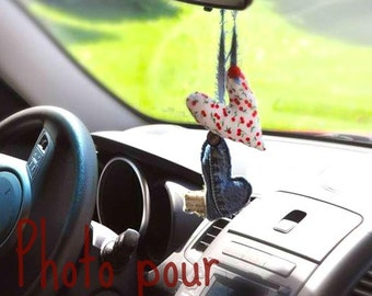 Decorative pendant car rearview / shape of hearts