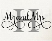 Personalized Mr. and Mrs. with Initial Monogram Vinyl Decal- Wall Art, home decor, wall decal,wedding, Newlywe