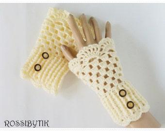 Crochet gloves Fingerless gloves  Champagne gloves Crochet mittens Gloves for girl's Crochet fingerless gloves Wist warmers