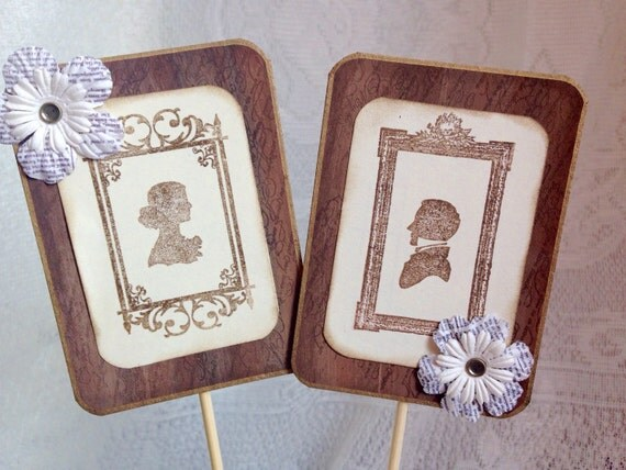 Rustic Cake Topper Vintage Wedding Silhouette By ScrappySeahorse