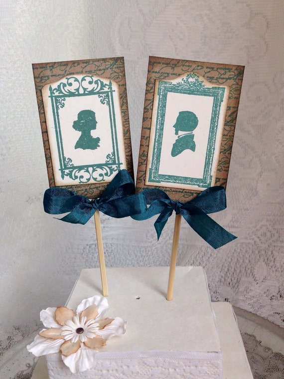 Teal Cake Topper Vintage Cake Topper Silhouette By ScrappySeahorse
