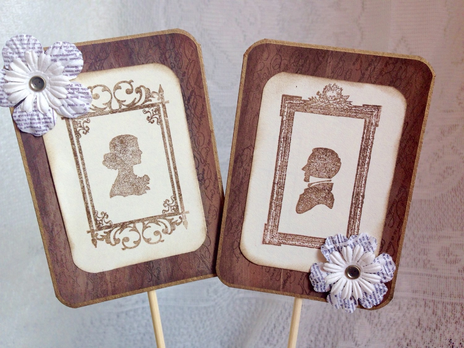 Rustic Cake Topper Vintage Wedding Silhouette by
