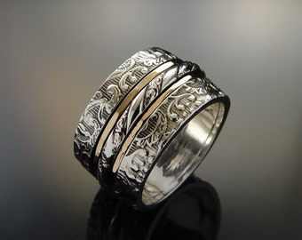 Floral silver spinner ring, wide band, gold spinners, Infinity ring, Gold filled and Silver,meditation band, rustic wedding band, Worry ring