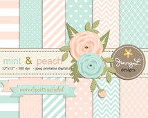 Mint and Peach Wedding Digital Paper, Mother's Day, Ranunculus Flowers Clipart, Mint & Peach Coral Birthday Party Theme Baby Shower