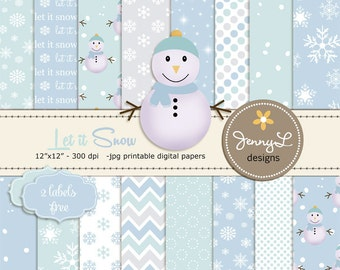 Winter Digital Papers, Snow Digital Papers, Snowman Clipart, Snowflakes Digital Paper, Frosty, Frozen, Flurries, Light Green, Light blue