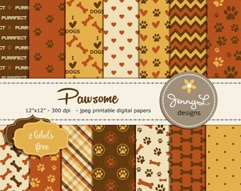 Pet Digital Paper, Dog Digital papers, Paws Scrapbooking Papers, Cat Digi Papers, Dog Bones, I Love Dogs, Animal Digital Papers, Puppy Theme