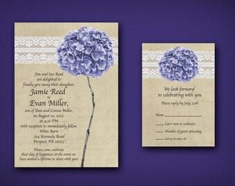 Burlap, Lace & Purple Hydrangea Wedding Invitations • Rustic Wedding Response Card • Vintage Wedding Invitations • Summer Wedding • Invites